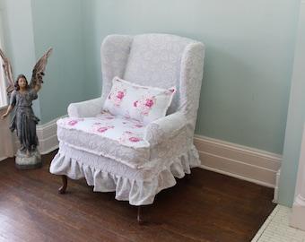Slipcovered Wingback Chair Chenille Roses Ruffle Shabby Chic Paris Slipcover  Cottage Custom Order
