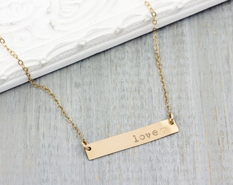 Personalized 14K Gold Filled Bar Necklace - Hand Stamped Name Necklace - Personalized Jewelry - Hand Stamped Jewelry - Custom Jewelry