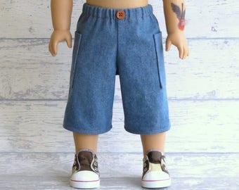 Boy Doll Denim Board Shorts,  18 inch Doll Clothes, American Boy Doll Cargo Shorts