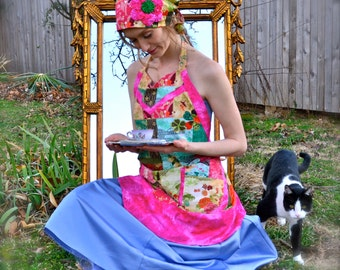 Patchwork Apron & Cloche Hat Set with Rosettes Handcrafted Original Housewarming Hostess Gift Set Spring Colorful Quilt Kitchen Housewife