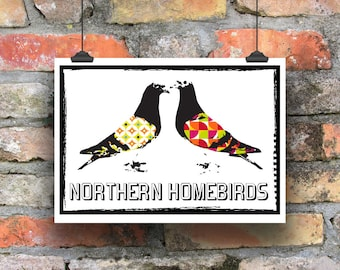 Pigeon Print. Modern Print. Illustration. Contemporary Print. Racing Pigeon Print. Northern Homebird Print