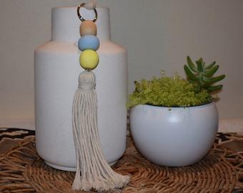 Large handmade clay bead keychain with tassel