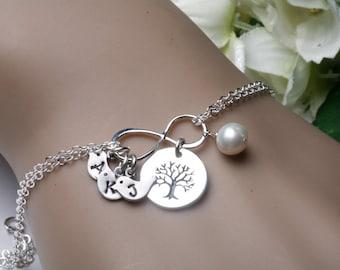 Family tree initial bracelet,tree of life,Bird initial bracelet,Mother jewelry,Grandma,nana,Family bracelet,mother of groom,mother in law