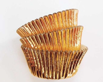 Gold Foil Cupcake Liners (45) Metallic Cake Cups Baking Supplies, Gold Cupcakes
