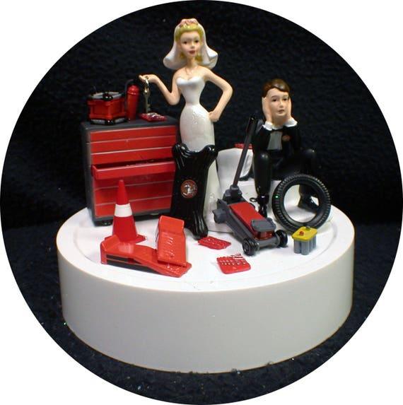 Car AUTO MECHANIC Wedding Cake Topper Key Bride Groom Tool