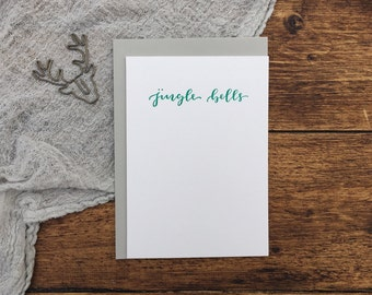 Jingle Bells Green Christmas Letterpress Card. Christmas Card. Greeting Card. Letterpress. Green Christmas Card. Simple Card.