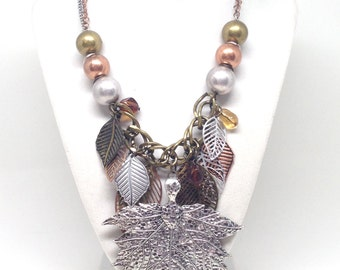 Estate Autumn Fall Leaf Silver Tone and Gold Tone Gorgeous Necklace