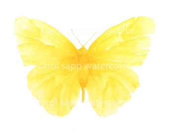 yellow butterfly watercolor archival print of painting