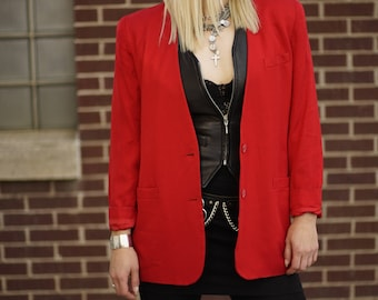 Vintage Red Collarless Rayon Blazer | Tailored Jacket | Suit Jacket | M