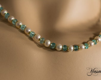 Apatite with beads gold plated 925