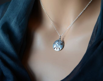 All Sterling Sand Dollar Necklace, Round Nautical Marine Nature Jewelry