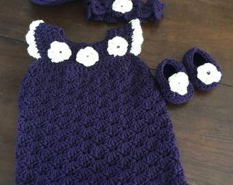 Elegent purple little girl dress 3-6 months