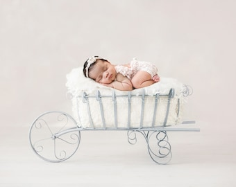 Newborn Photography Digital Backdrop for girls or boys - Simple vintage wheelbarrow