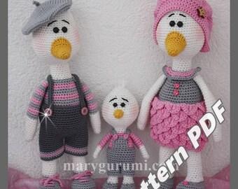 Crochet Pattern, pattern, tutorial, Amigurumi duck family