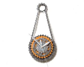 Silver Wall Clock, Steampunk Clock, Cyclist Gift, Metal Clock, Industrial Clock, Bike Clock, Unique Wall Clock, Unique Clock, Modern Clock