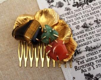 Vintage - Antique - Gold, Aqua, Coral, Tigers Eye Bridal Hair Comb - Headpiece