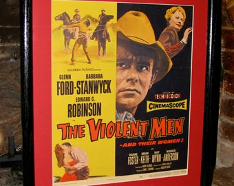 Vintage Original Lobby Card /  Poster / The Violent Men / Glenn Ford and Barbara Stanwyck  / Framed and Matted