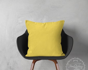 solid yellow pillow cover decorative pillow case yellow throw pillow cover cotton cushion cover yellow accent pillow home decor SET OF 2