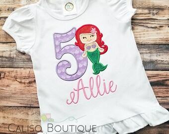 Mermaid Birthday Shirt - Personalized Mermaid Shirt - Applique Number Birthday 1-9 - Toddler and Girls Shirt - Kids Mermaid Birthday Shirt