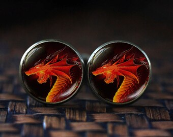 Red dragon cufflinks, Red dragon cuff links, dark dragon cufflinks, dragon jewelry, men's dragon cuff links