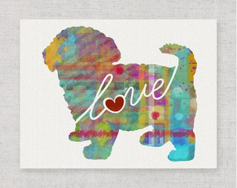 Maltipoo (Maltese / Poodle) Love - A Colorful Watercolor Print for Dog Lovers - Dog Breed Gift - Can Personalize With Name - Pet Memorial