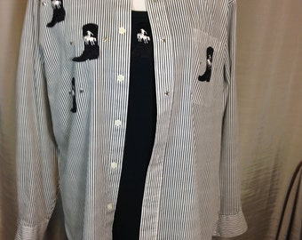Black and White Stripped Long Sleeve Blouse with Cowboy Boots & Silver Stars with Matching Tank Top Medium Previously 24 Dollars ON SALE