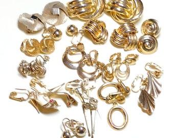 Huge lot of vintage earrings, 14 pairs goldtone metal, screw back and clip earring lot, vintage earring lot, gold earring lot 1960s-80s E89