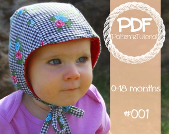 Brimless Bonnet Sewing Pattern - with bear ear add on