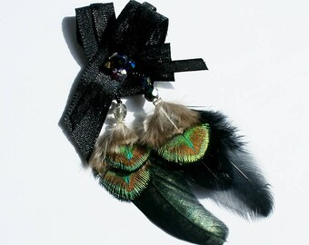 Brooch embroidered ribbons with beads and natural peacock feathers and chicken