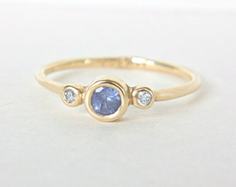 Tanzanite and Diamond Ring 14k Yellow Gold Tanzanite Engagement Diamond Gold Ring Made in Your Size Alternative Engagement Ring