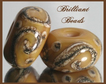 Caramel and Silvered Ivory Handmade Lampwork Glass Bead Pair SRA, Made To Order