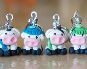 Miniature Cold Holstein Cow Polymer Clay Stitch Markers (herd of 4 sculpted accessories)