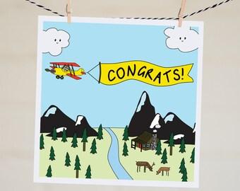 Congrats Card | Graduation Card | New Job Card | Woodland Wedding | Wedding Card | Congratulations Card | Funny Congratulations Card