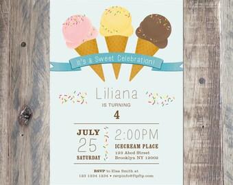 Ice Cream Birthday Invitation, Printable Digital Invitation