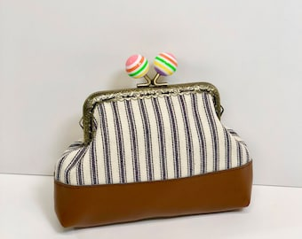 Rainbow Ball Kisslock Coin Purse in Blue White and Carmel