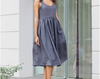 Gray linen dress, Midi linen dress, linen clothing, Linen dress