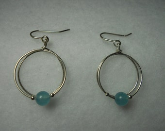 Aqua marine bead Earrings
