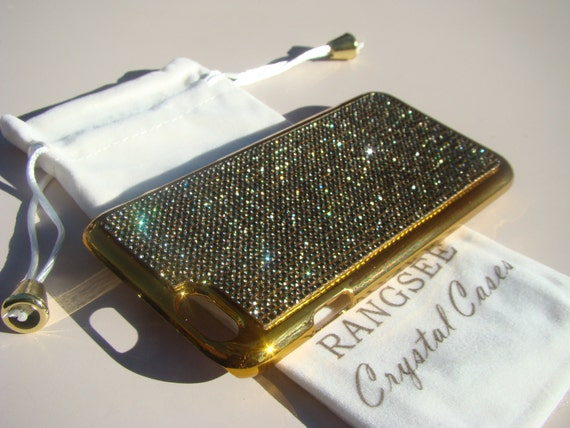 """iPhone 6 / 6s Case Black Diamond Rhinstone Crystals on iPhone 6 / 6s Gold Chrome Case. """" Gold Edition"""" , Genuine Rangsee Crystal Cases."""