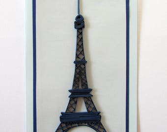 Quilling Eiffel Tower Card, Quilled Eiffel Tower, Valentine's day card, Paris Card, French gift, Valentine card