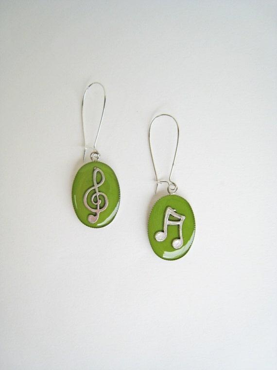 Music earrings, lime green earrings, treble clef music note earrings, musician jewelry, jazz rock dance - music teacher gift, music jewelry