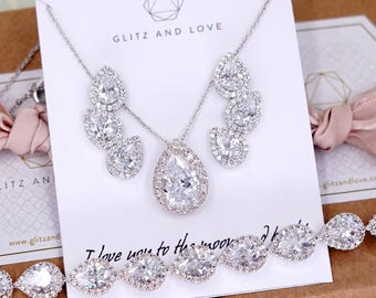 Wedding Bridesmaid Brides Gift Bridal Earrings Necklace Bracelet Jewelry Set Clear White Cubic Zirconia Teardrop Ear Stud E321 B85 N221