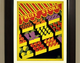 Fruit Store WPA Poster - 3 sizes available, one price.