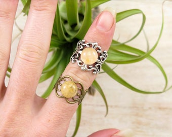 Citrine Chakra Ring - Crystal Jewelry - Crystal Rings - Healing Jewelry - Chakra Jewelry - Healing Stones Crystals - Polished Citrine