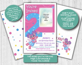 Abby Cadabby Second 2nd birthday invitation, INSTANT Customization, Personalize, Printable