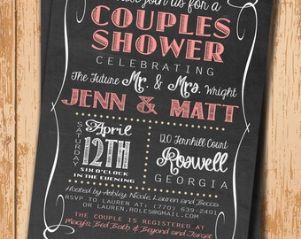 Wedding Shower Invitation. Bridal Shower Invitation. Shower Invite. Printable Invitation. Chalkboard Invite. DIY Wedding. Pink Invitation