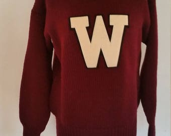 Vintage Letter Sweater Boatneck Neck Maroon Pullover Cheerleader Sweater Letter 'W'  Made by Horace Partridge 100% Wool Size Small 1950s