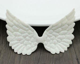 20 pcs/LOT Sparkle Glitter Fabric Angel Wing 10cm*7cm - White, Pink - Fairy Wings, Cupid Wing - Baby Doll Embellishment, Wedding Decor