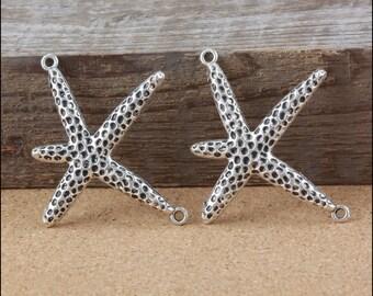 10pcs 44x50mm Antique Silver Starfish Pendants  LJB152