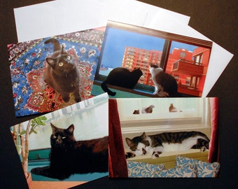 Cat Art Cards, Stationery Set, Cat Lover Gift Pack
