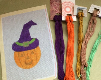 Jack O' Witch - Handpainted Halloween Needlepoint Canvas and Overdyed Threads
